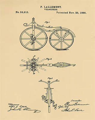 Velocipede Drawing - Velocipede Bicycle Patent 1866 Sepia by Bill Cannon