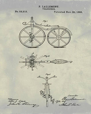 Bike Drawing - Velocipede Bicycle Patent 1866 Vintage by Bill Cannon