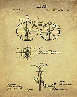 Velocipede Drawing - Velocipede Bicycle Patent 1866 Vintage Sepia by Bill Cannon