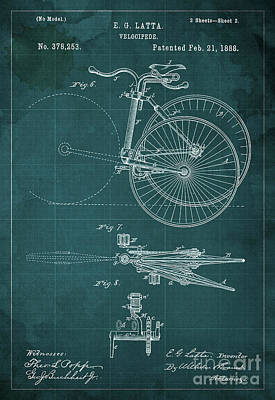Hombre Drawing - Velocipede Patent Blueprint Year 1888 Green Vintage Poster by Pablo Franchi