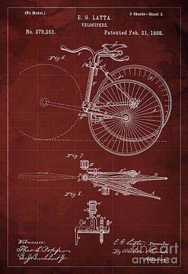 Velocipede Drawing - Velocipede Patent Blueprint Year 1888 Red Vintage Poster by Pablo Franchi