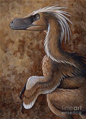 Velociraptor, A Dromaeosaurid Dinosaur Art Print by H. Kyoht Luterman