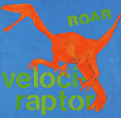 Dinosaur Painting - Velociraptor by Laurie Breen