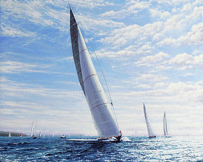 Painting - Velsheda, Lionheart and Ranger, J Class Yachts by Mark Woollacott