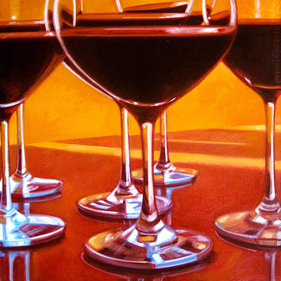 Wine Reflection Art Painting - Velvet Lush by Penelope Moore