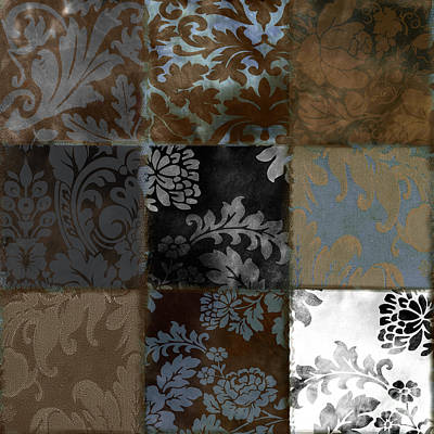 Tapestries Textiles Painting - Velvet Patch Cocoa And Blue by Mindy Sommers