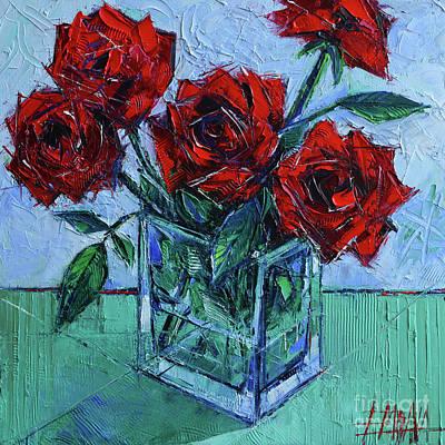 Velvet Roses - Impasto Palette Knife Oil Painting Original
