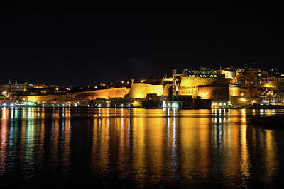 Photograph - Velvety Reflections - Valletta Grand Harbour At Night by Georgia Mizuleva