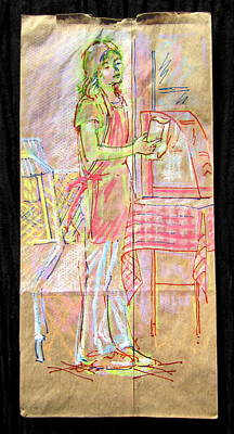 Mixed Media - Vendor by Radical Reconstruction Fine Art Featuring Nancy Wood