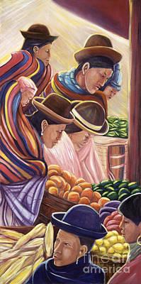 Vendors In La Paz Bolivia Art Print by George Chacon