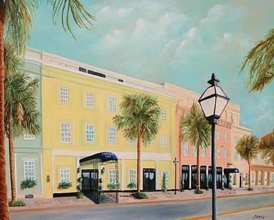 Rainbow Row Painting - Vendue Inn Charleston South Carolina by Todd Bandy