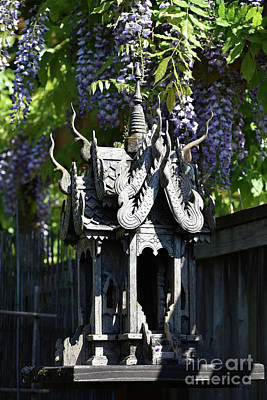 Photograph - Venerable Thai Spirit House And Wisteria by Rose De Dan