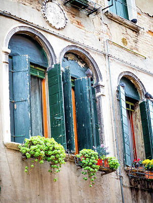 Photograph - Venetian Blue Windows by Debbie Karnes