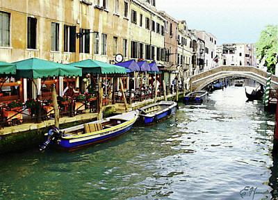 Venetian Cafes Art Print