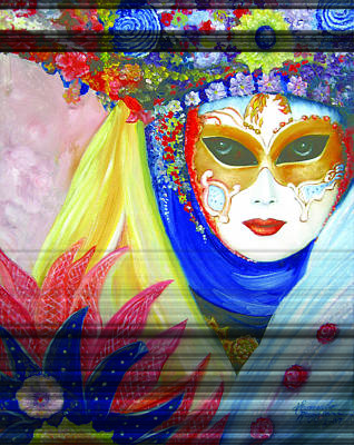 Carneval Painting - venetian carneval mask IV by Leonardo Ruggieri