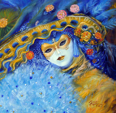 Carneval Painting - Venetian Carneval Mask With Feathers by Leonardo Ruggieri