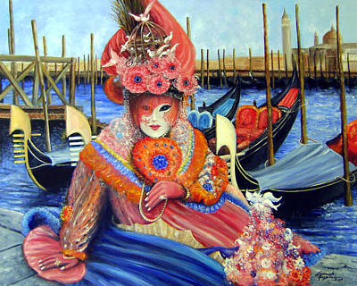 Carneval Painting - Venetian Carneval Mask With Gondolas by Leonardo Ruggieri