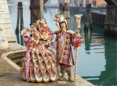 Venetian Couple Along The Canal Art Print