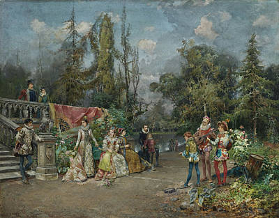 Band Painting - Venetian Court Minstrel Scene by Celestial Images