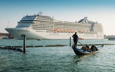 Photograph - Venetian Gondola Next To Giant Cruiseship by Alexandre Rotenberg