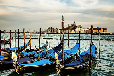 Clouds Photograph - Venetian Gondolas by Andrew Soundarajan