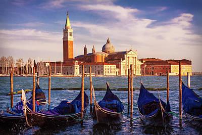 Photograph - Venetian Gondolas At Golden Hour - Venice by Barry O Carroll