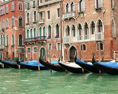 Photograph - Venetian Gondolas Waiting by Barbie Corbett-Newmin