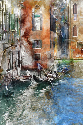 Photograph - Venetian Gondolier In Venice Italy by Brandon Bourdages