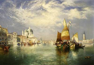 Port Town Painting - Venetian Grand Canal by Thomas Moran