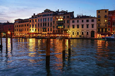 Photograph - Venetian Impressions - Blue Hour Along The Grand Canal by Georgia Mizuleva