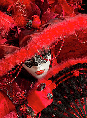 Venetian Lady In Red II  Art Print