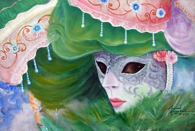 Carneval Painting - Venetian Mask In Green by Leonardo Ruggieri