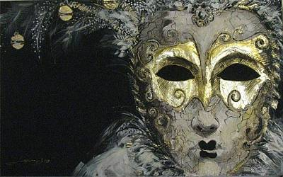 Gold Cloth Painting - Venetian Mask by Luciana Toma