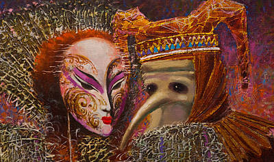 Painting - Venetian Masks. Fragment by Valentina Kondrashova
