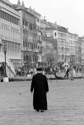 Venetian Priest And Gondola Print by KG Thienemann