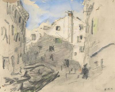 Drawing - Venetian Street Scene by Treasury Classics Art