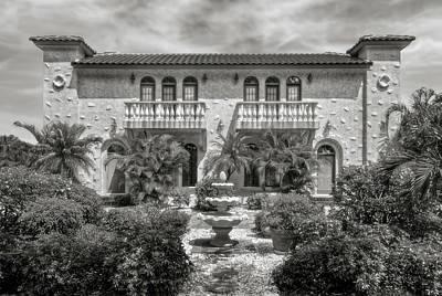 Photograph - Venetian Style Florida Home  -  Venetianstyleblkwhi173138 by Frank J Benz