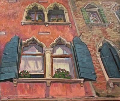 Corbels Painting - Venetian Windows by Mary Villanueva-Tuomy
