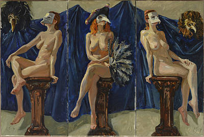Painting - Venetian Women With Blue Background. Triptych by Igor Sakurov