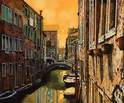 Painting Rights Managed Images - Venezia Al Tramonto Royalty-Free Image by Guido Borelli
