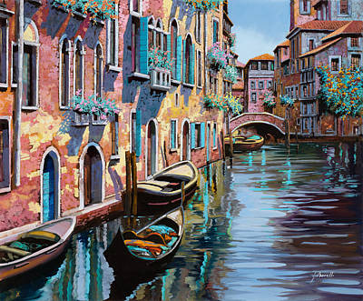 Bridges Painting - Venezia In Rosa by Guido Borelli