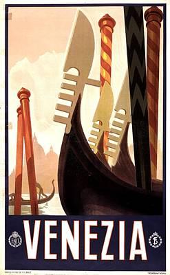 Mixed Media - Venezia, Italy - Prows Of Gondolas On A Canal In Venice - Retro Travel Poster - Vintage Poster by Studio Grafiikka