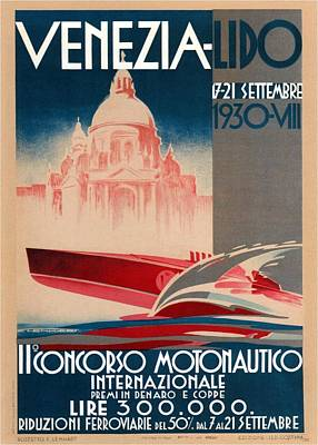 Royalty-Free and Rights-Managed Images - Venezia-Lido - Ilconcorso Motonautico - Powerboating - Retro travel Poster - Vintage Poster by Studio Grafiikka