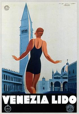 Photograph - Venezia Lido - Venice, Italy - Retro Travel Poster - Vintage Poster by Studio Grafiikka