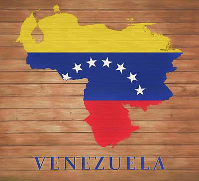 Mixed Media - Venezuela Rustic Map On Wood by Dan Sproul