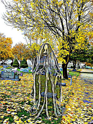 Mixed Media - Vengeful Child Ghost In Cemetery by Elizavella Bowers