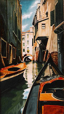Painting - Venice - Gondola Ride by Keith Gantos