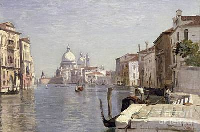 Venice - View Of Campo Della Carita Looking Towards The Dome Of The Salute Art Print by Jean Baptiste Camille Corot