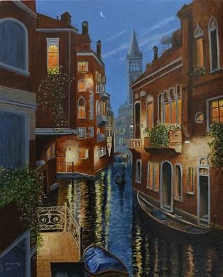 Painting - Venice At Dusk by David Hawkes