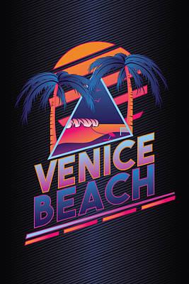 Venice Beach Digital Art - Venice Beach 80's Style by Alek Cummings